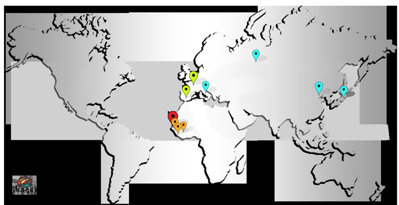 Carte usines et bureaux Ikagel à travers le monde